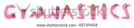 Girl in pink clothes  making word GYMNASTICS, collage - stock photo
