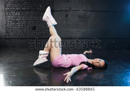 Girl in pink outfit - stock photo