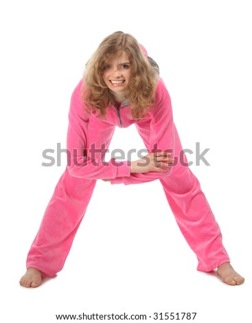 Girl in pink sport clothes represents  letter A - stock photo