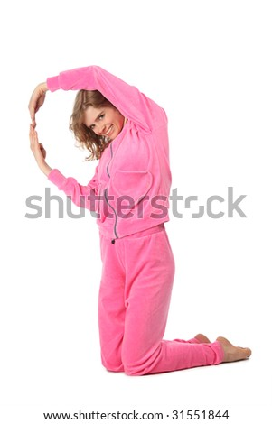 Girl in pink sport clothes represents  letter Q - stock photo