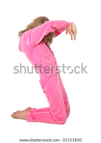 Girl in pink sport clothes represents  letter S - stock photo