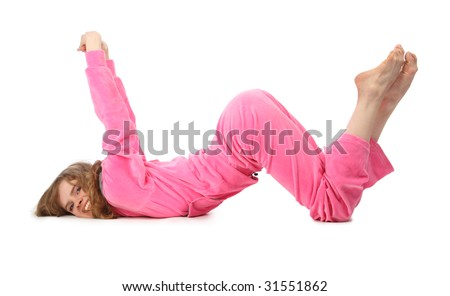 Girl in pink sport clothes represents  letter W - stock photo