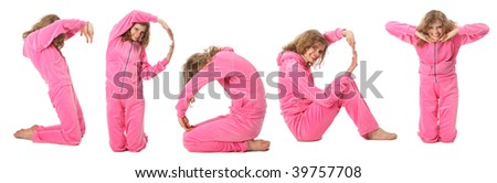 Girl in pink sport clothes represents  word SPORT - stock photo