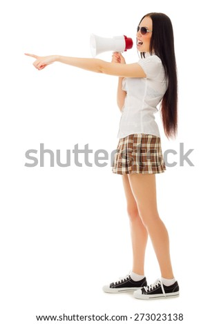 Girl in plaid skirt with sunglasses and megaphone isolated - stock photo