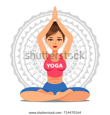 Girl in pose of yoga. Lotus pose. Woman going yoga exercise. Meditation or relaxation.