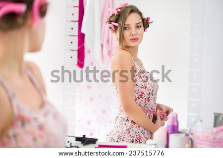 girl puberty observe her body change stock photo edit now 237515776 shutterstock. Black Bedroom Furniture Sets. Home Design Ideas