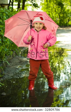 girl in puddle with umbrella