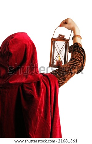 girl in red cloak with a candle-lantern, isolated on white