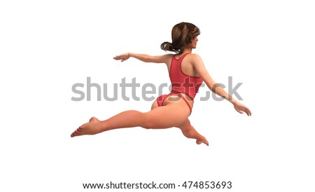 Girl in red costume doing gymnastics, female gymnast training on white background, 3D illustration
