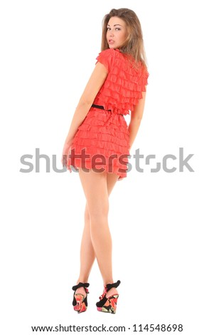 girl in red dress - stock photo