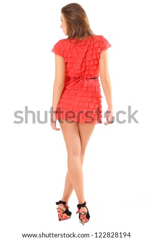 girl in red dress back to camera - stock photo