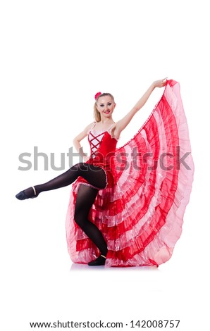 Girl in red dress dancing dance