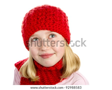 Girl in Red Hat and Scarf - stock photo