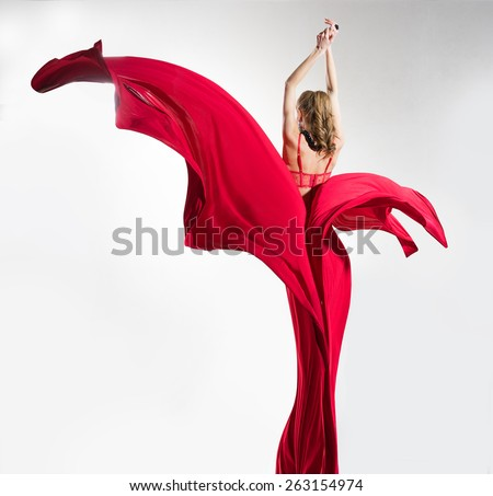 Girl in red lingerie and red cloth  - stock photo