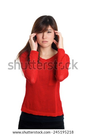 Girl in red with headache gesture on white background - stock photo
