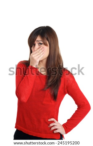 Girl in red with smelly gesture  on white background - stock photo