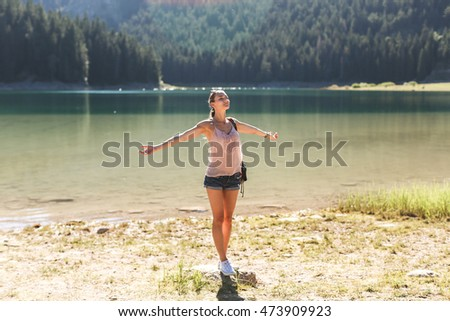 girl in relaxation pose on nature