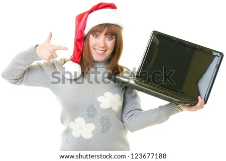 girl in Santa Claus clothes with notebook - stock photo