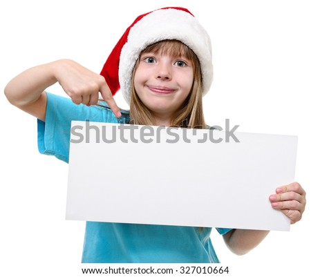 Girl in Santa hat with whiteboard isolated on white. - stock photo
