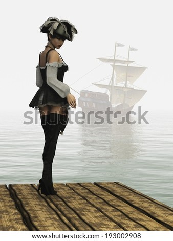 Girl in sexy pirate costume complete with hat thigh high boots and holstered flintlock pistol from rear looking backwards as sailing ship moves into the mist - stock photo
