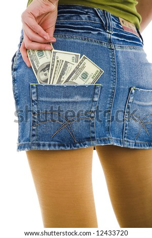Girl in skirt on white isolated background
