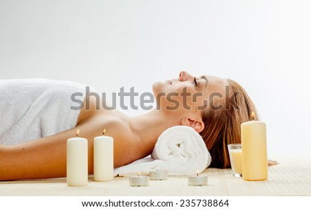 girl in spa salon on spa treatments - stock photo
