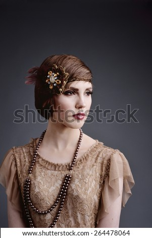 girl in style 20 with short hair in elite old-style - stock photo