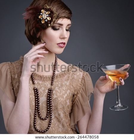 girl in style 20 with short hair in old-style - stock photo