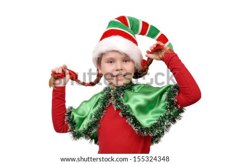 Girl in suit of Christmas elf isolated on a white - stock photo