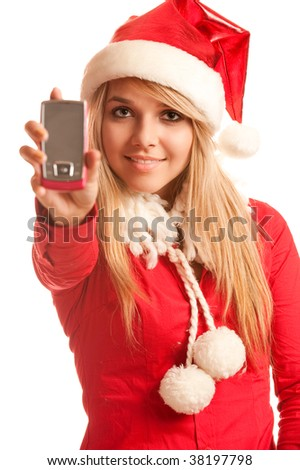 Girl in suit of Snow Maiden talks by mobile phone.