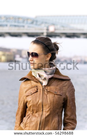 girl in sunglasses at street