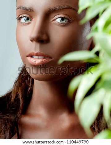 girl in the black makeup beauty - stock photo