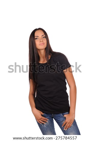 girl in the black shirt isolated over white background
