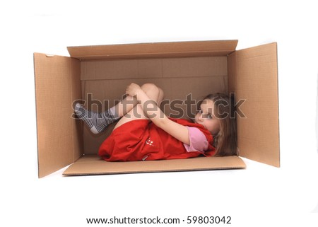 girl in the box - stock photo