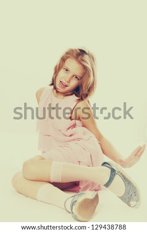 girl in the dress,vintage photo - stock photo