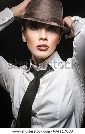 girl in the hat - stock photo