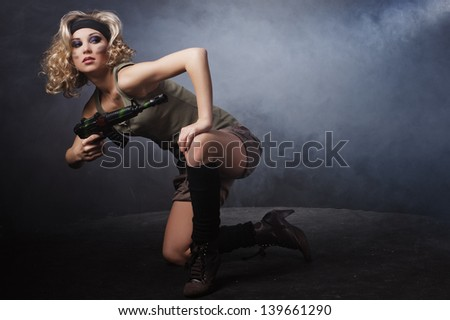 Girl in the military dress