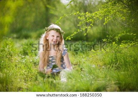 girl in the park at spring - stock photo