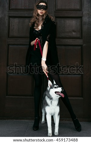 Girl in the park with a dog Husky. The girl with the siberian husky. Delightful girl plays with a Siberian Husky. Girl walking with a hunting dog - the West Siberian husky. Close-up. Fashion photo - stock photo