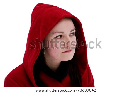 Girl in the red hood - stock photo