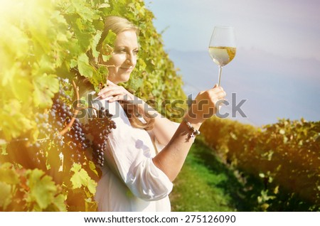 Girl in the vineyards. Lavaux, Switzerland