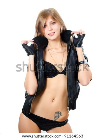 Girl in underwear and a leather jacket - stock photo