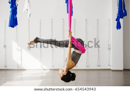 woman hanging upside down stock images royaltyfree