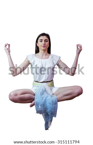 Girl in white dress floating in air on white background - stock photo