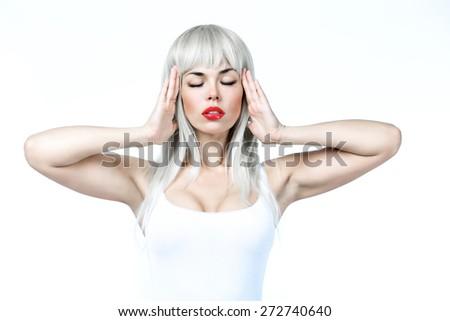 girl in white wig - stock photo