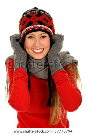 Girl in Winter Clothing - stock photo