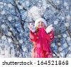 girl in winter park  - stock photo