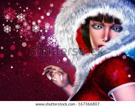 Girl in winter red outfit with fur on abstract background with snowflakes.