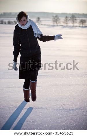 girl in winter scene - stock photo