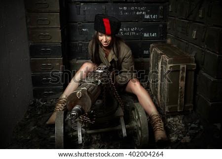 Girl Insurgent - stock photo